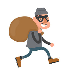 happy smiling thief robber runs with a bag vector image vector image