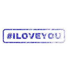 hashtag iloveyou rubber stamp vector image