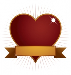 heart with banner vector image vector image