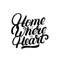 Home is where the heart is hand written lettering vector
