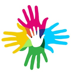 Multicolor diversity hands vector image