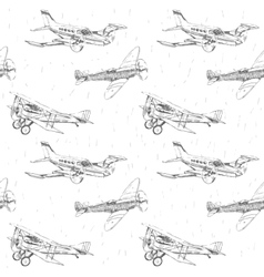 Propeller airplanes seamless pattern vector image