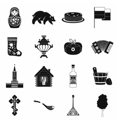 Russia black simple icons vector