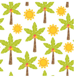 seamless pattern with palm tree and sun vector image