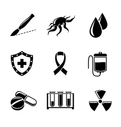 Set of cancer icons with - shield virus cell vector