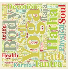 Six branches of yoga text background wordcloud vector
