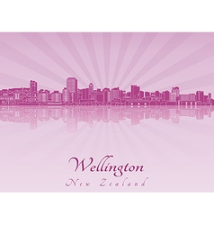 Wellington skyline in purple radiant orchid vector image
