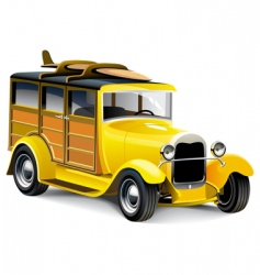yellow hot rod vector image vector image
