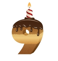Birthday cake font - number nine vector