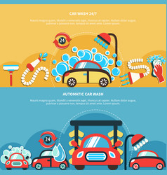 Automatic car wash banners vector