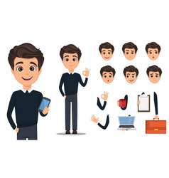 Business man cartoon character creation set young vector
