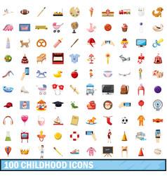 100 childhood icons set cartoon style vector