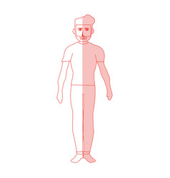 Red silhouette shading cartoon full body man with vector