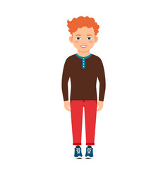 red hair boy in brown shirt vector image