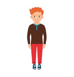 Red hair boy in brown shirt vector