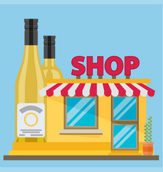 The front facade of the liquor store flat style vector