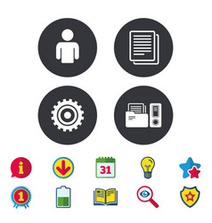 Accounting workflow icons human documents vector