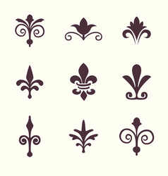 Heraldic symbols fleur de lis set vector