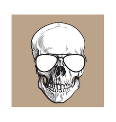Hand drawn human skull wearing black and white vector