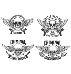Outlaw street warriors set of winged skulls with vector