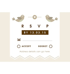 Rsvp wedding card gold love bird theme vector