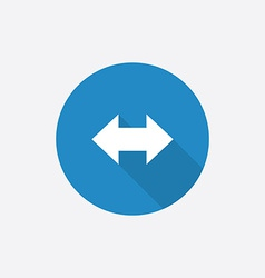 Arrow flat blue simple icon with long shadow vector