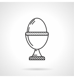 Boiled egg black line icon vector