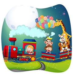 Girls and animals on train vector