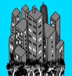 Group of buildings and trees vector