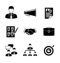 Set of head hunter icons - handshake resume vector