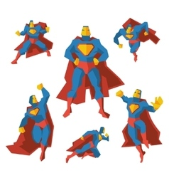 Superhero in different actions set vector