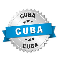 Cuba round silver badge with blue ribbon vector