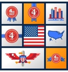 Usa independence day badges set vector