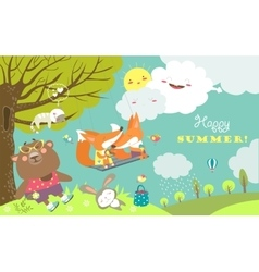 Set of cartoon characters and summer elements vector