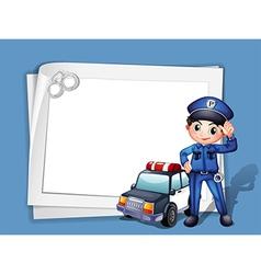 A policeman beside a police car vector image vector image