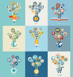 Abstract trees with icons for web design vector