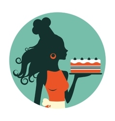 Beautiful baker holding freshly baked cake vector