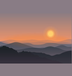 Cartoon mountain landscape in sunset Background vector image vector image