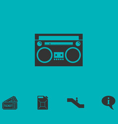 Cassette player icon flat vector