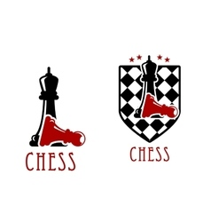 Chess icon with queens over fallen pawns vector