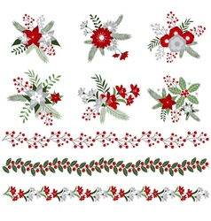 Christmas bouquets and borders vector