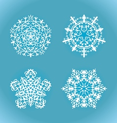 collection white snowflake on a blue background vector image vector image