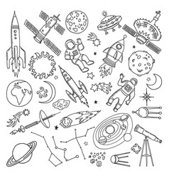 doodle different universe elements planets sun vector image