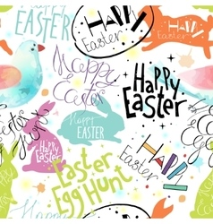 Easter pattern with lettering bunnies and bird vector image