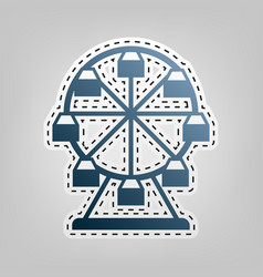 Ferris wheel sign blue icon with outline vector
