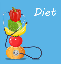 fruits and vegetables with a stethoscope vector image vector image