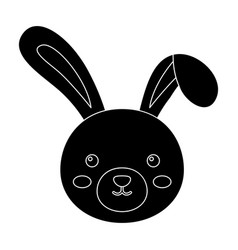 grey rabbit with long ears easter single icon in vector image vector image