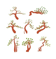 Highly detailed spring trees vector