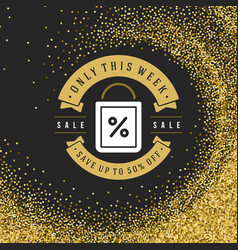 Label or tag design on gold background vector
