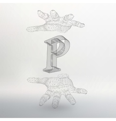 letter P and hand of lines vector image